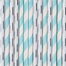Pailles de fête en papier Rayure Bleu et Argent (x20)