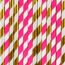 Pailles de fête en papier Rayure Fuschia et Or (x20)