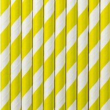 Pailles de Fête en papier à rayures jaunes (x20)