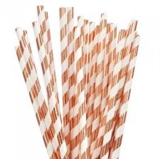 Pailles de fête en papier Rose Gold (x25)