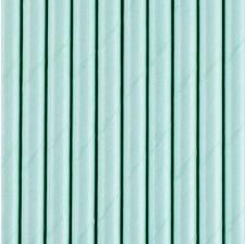 Pailles en papier bleu clair uni (x20)