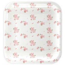 Petites Assiettes Carré Blanc à fleur (x5)