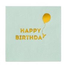 Petites Serviettes en papier Birthday Mint & Or (x16)