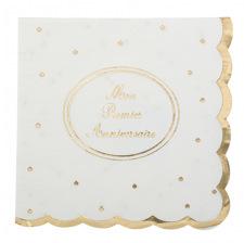 Petites Serviettes en papier Blanc Etoile Or (x16)