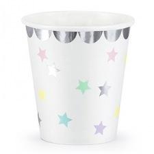 Petits gobelets en carton Etoile Pastel & Argent (x6)