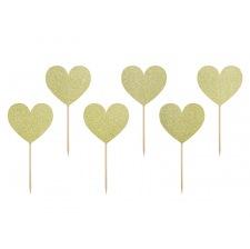 Pics à Cupcake Décoratif Coeur Or Pailleté (x6)