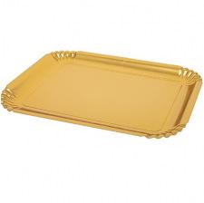 Plateaux rectangle plastique métallisé Or (x2)