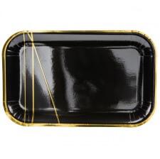 Plats rectangle en carton métallisé Noir & Or (x6)