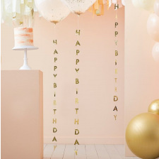 Queues de ballons Happy Birthday Or (x5)