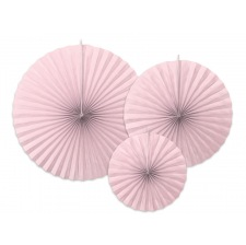 Rosaces en papier Rose Pastel Uni (x3)