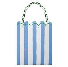 Sacs Cadeaux Rayure Bleu & Vert (x8)