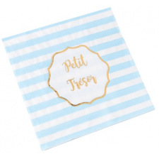 Serviettes en papier Chevron Bleu & Or (x16)