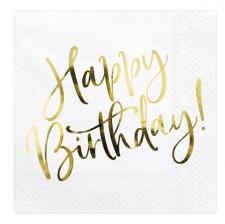 Serviettes en papier Happy Birthday Blanc & Or (x20)