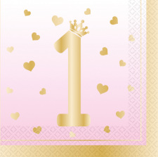 Serviettes en papier Happy Birthday Blanc & Rose (x20)