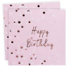 Serviettes en papier Happy Birthday Rose Gold (x16)