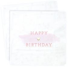 Serviettes en papier Happy Birthday Rose (x16)