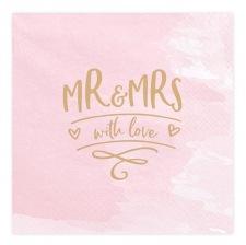 Serviettes en papier MR & Mrs Rose & Or (x20)