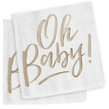 Serviettes en papier Oh Baby Or (x16)