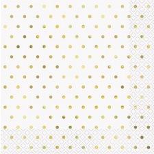Serviettes en papier Pois Or (x16)