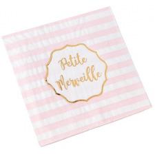Serviettes en papier à pois rose et or (x16)