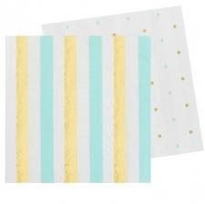Serviettes en papier Rayures et Pois Mint & Or (x20)