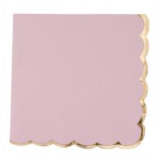 Serviettes en papier Rose Poudré Lisière Or (x16)