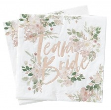 Serviettes en papier Team Bride Floral Rose Gold (x16)