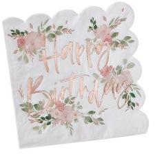 Serviettes papier Fleur Happy Birthday Rose Gold (x16)