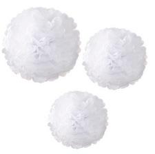 Trio Pompons Fleur de Papier Blanc (x3)