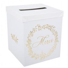 Urne Merci Blanc & Dorure Or 30 cm