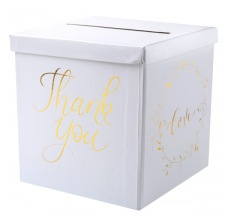 Urne Tirelire Mariage Thank You Blanc & Or