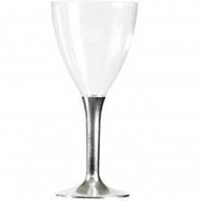 Ver à vin Pied Plastique Métallisé Argent (x10)