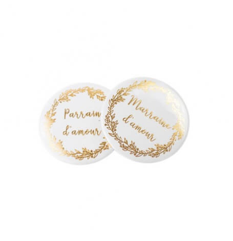 2 Badges Marraine d'Amour/Parrain d'Amour Or| Hollyparty