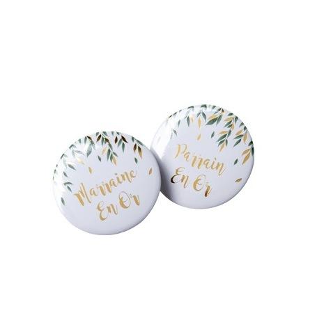 2 Badges Parrain Marraine Végétal & Or| Hollyparty