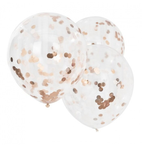 3 Grands Ballons Confettis Rose Gold 56 cm | Hollyparty