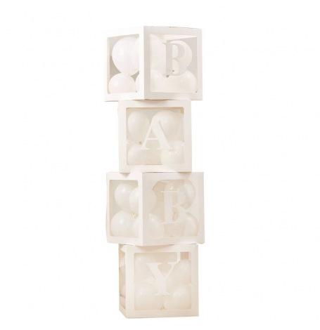 4 Cubes BABY Blanc avec 30 mini ballons | Hollyparty