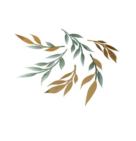 6 Déco de table végétal Métallisé Or & Vert| Hollyparty