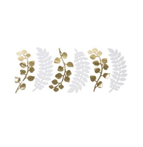 6 Feuilles fougères & Eucalyptus Blanc & Or | Hollyparty