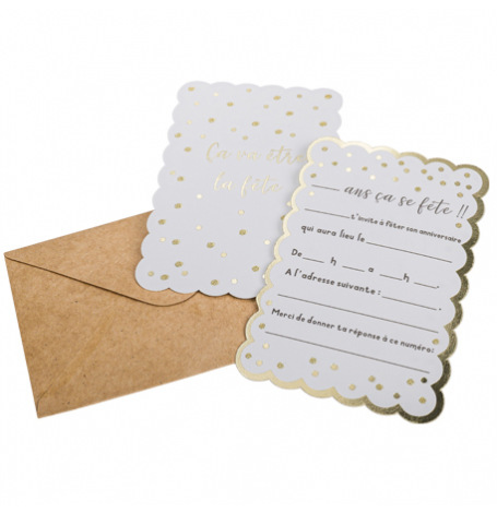 8  Cartes d'Invitations Pois Blanc & Or + Env Kraft  Hollyparty