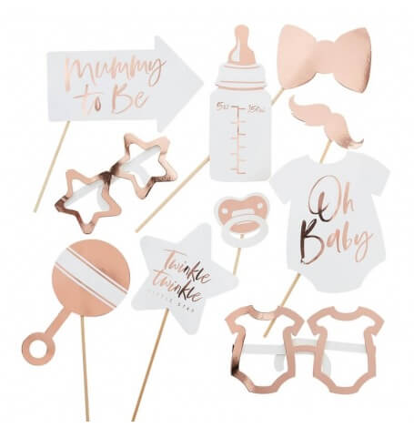 Accéssoires Photobooth Baby Shower Rose Gold (x10)| Hollyparty