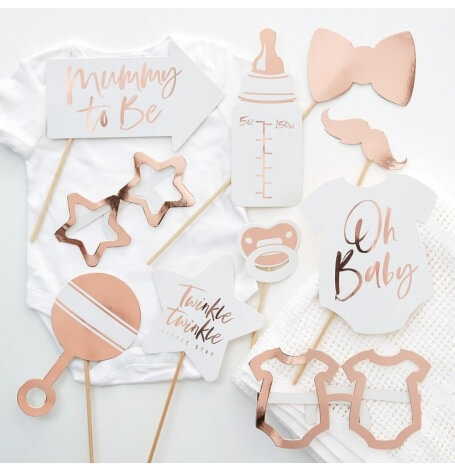 Accéssoires Photobooth Baby Shower Rose Gold (x10)