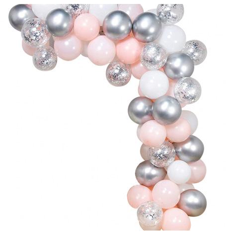 Arche de Ballon Organique Argent & Rose Pastel | Hollyparty