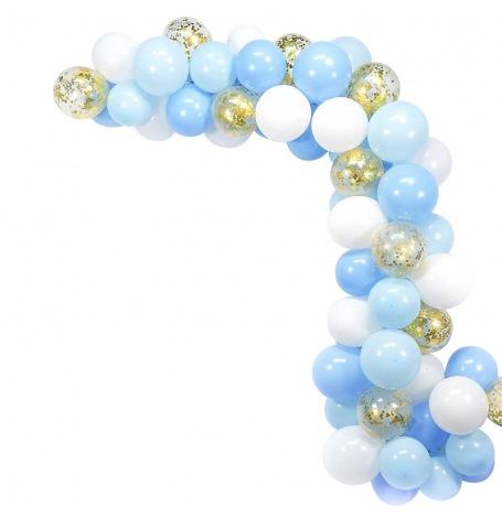 Arche de Ballon Organique Bleu & Or (x60)| Hollyparty