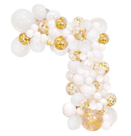 Arche de Ballons Organique Blanc & Or | Hollyparty
