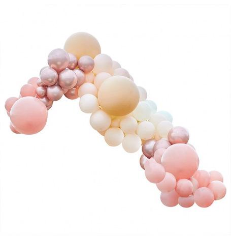 Arche de Ballons organiques Pêche, Rose Gold et Corail| Hollyparty