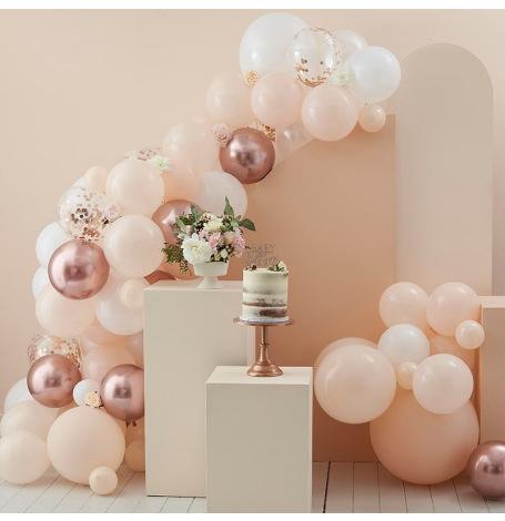Arche de Ballons Pêches, Blanc & Rose Gold (x70)  Hollyparty