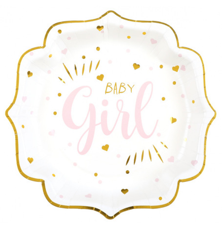 Assiettes carton Baby Girl Rose (x5)| Hollyparty