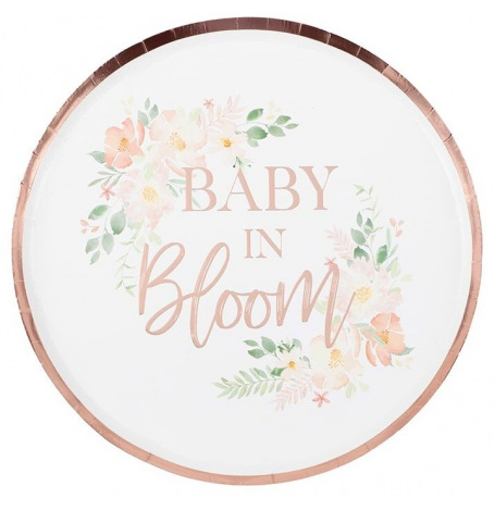 Assiettes carton floral Baby in Bloom (x8) | Hollyparty
