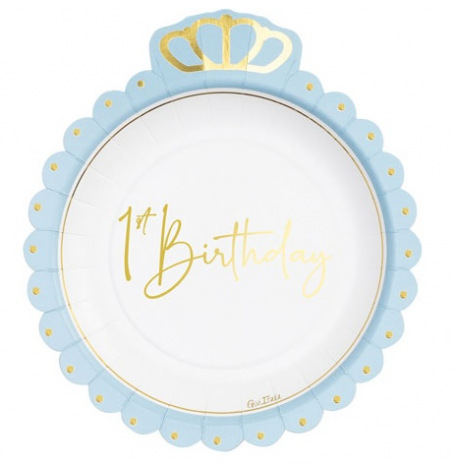 Assiettes en carton 1st Birthday Bleu & Or (x8)  Hollyparty