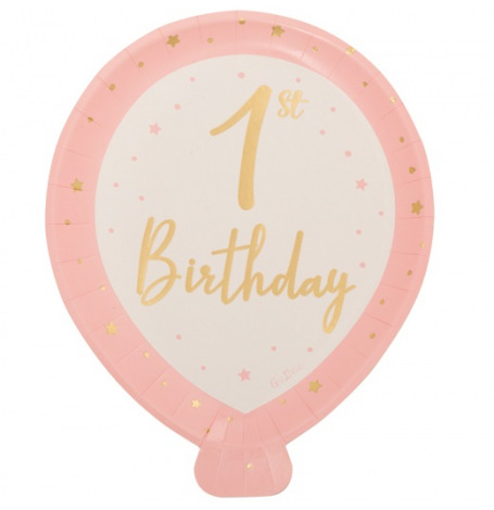Assiettes en carton 1st Birthday Rose & Or (x8)  Hollyparty